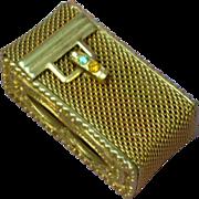 Gold Metal Mesh Rhinestone Match Pill Misc. Holder