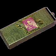 Vintage Gold-tone Metal Postal Stamp Holder Dispenser Box