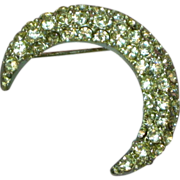 Mesmerizing Crescent Rhinestones Moon Silver tone Pin Brooch