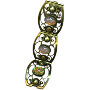 Signed Sterling Mexico and TNC Mexican Glass Opal Cabochon Four Panel Bracelet
