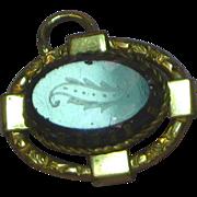 9K Yellow Gold Etched Glass Necklace Pendant Bracelet Charm