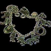 SALE Vintage Sterling Silver Western Cowboy Ranch Theme Charm Bracelet
