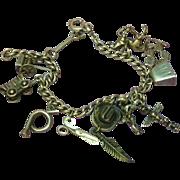 SALE Vintage Sterling Silver Western Cowboy Mexico Theme Charm Bracelet