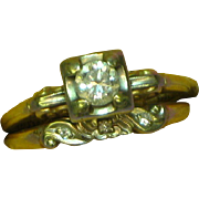 SALE SALE!!  14K Yellow and White Gold Diamond Wedding Ring Set .33 Carat