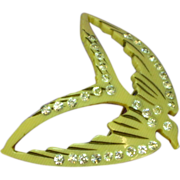 SOLD Art Deco Vintage Celluloid and Rhinestone Carved Swallow Bird Figural Brooch Pin