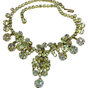 Juliana D&E Book Piece AB Clear Rhinestone and Crystal Dangle Necklace
