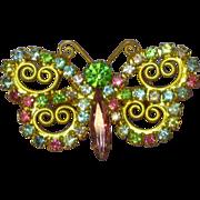 Vintage Rhinestone Pastel Juliana Look  Butterfly Pin Brooch