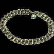 Unique Diamond Cut Double Link Chain Sterling Silver Charm Bracelet
