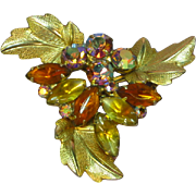 Bright and Beautiful Golden Orange Vitrail A/B Rhinestones with Yellow and Gold Givre Art Glas