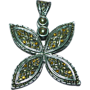 Vintage Silver Tone Topaz Rhinestone Detailed Pendant Charm Slide Enhancer for Beads or Neckla