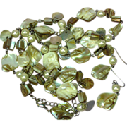 "Shell Beautiful Faux Pearl Long Dangle Colorful 30"" Necklace Pierced Earrings Set Demi Pa"