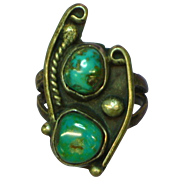 Native American Indian Sterling Silver,Turquoise Old Pawn Ring Size 8