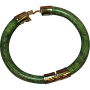 Jade Beautifully Mottled Nephrite Jade Bangle Bracelet