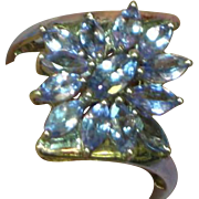 Vintage Sterling Silver Multi Stone Cluster Tanzanite Ring, Size 7