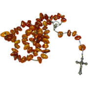 SALE Genuine Amber and Sterling Silver Catholic Crucifix Cross Necklace