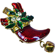 Enamel Rhinestones Christmas  Stocking with Holly and Presents Pin Brooch