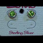 Rhinestones Green Bali Sterling Silver Post Stud Pierced Earrings