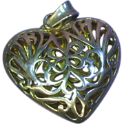 Sterling Silver Large Filigree Heart Charm Necklace Pendant