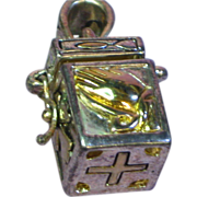 SALE Rare Gold Accents Prayer Box Charm Sterling Silver Necklace Pendant