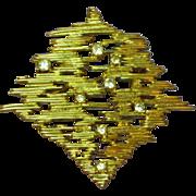 D'Orlan # 1757 Signed Gold Tone Rhinestone Pin Brooch