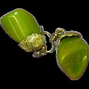 Bakelite Chunky Marbled Green & Yellow Dangle Pierced Earrings