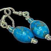 Gemstones Chrysocolla Drop Dangle Pierced Earrings