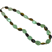 "SALE Gemstones  Tiger Eye & Rough Cut Gem Prehnite Sterling Silver 16"" NOS Necklace"