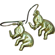 Sterling Silver Detailed Etched Lucky Elephant Figural Pierced Earrings