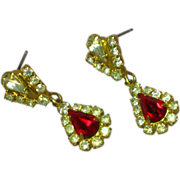 Rhinestones Ruby Red and Clear Crystal Dangle Drop Pierced Earrings