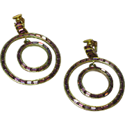 Vtg 1930s Art Deco Baguette Rhinestone Large Dangle HOOP Clip Earrings