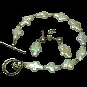 Sterling Silver Biwa Cross Freshwater Cultured Pearl Bracelet Pierced Earrings Set