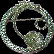 Sterling Silver Filigree Floral Flower  Circle Frame Pin Brooch