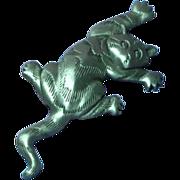 J.J. Large Pewter Jonette Jewelry Cat Figural Pin Brooch