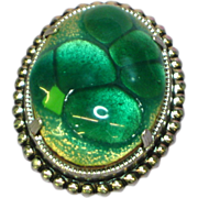 Art Glass Fused Dichroic Glass Green Bubble Silver-tone Pin Brooch