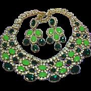 SALE Massive Emerald Green Mint Green Rhinestone Crystal Runway Statement Bib Necklace Pierced