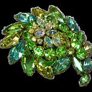 Juliana Rhinestones Domed 3-D Blue Green Yellow Brooch Pin
