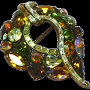 Weiss Brilliant A/B Rhinestones Domed Golden Delight Pin Brooch
