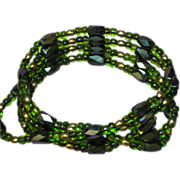 Hematite Magnetized Black and Green Wrap Bracelet Necklace