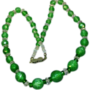 Art Deco Art Glass Faceted Rock Crystal Magnificent Beads 800 Silver Clasp Necklace