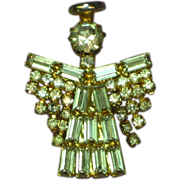 Rhinestones Gold tone Articulated  Angel Pin Brooch Pendant