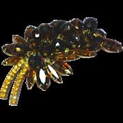 Juliana DeLizza & Elster Dangle Beads Tiger Stripe Rhinestones Art Glass Pin Brooch