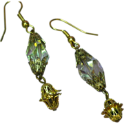 Crystal Fancy Cut  Gold Filigree Drop Dangle Pierced Earrings