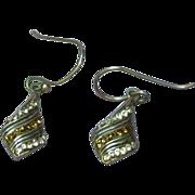 SALE Rhinestones Sterling Silver Puffy Open Design Drop Dangle Pierced Earrings