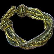 Rich! Rich! Rich! Mixed Metal Multi Chain  Six Strand Toggle Bold Big Bracelet