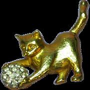 Brushed Goldtone Kitty Cat Kitten Pave Rhinestone Ball Figural Pin Brooch