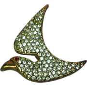 Pave' Rhinestone Dove Bird in Flight Figural Pin Brooch