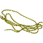 "14k Yellow Gold Diamond Cut Solid Rope Chain 20"" Necklace"