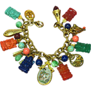 SALE Napier Vintage Rare Signed Asian Theme With Buddhas Charm Bracelet