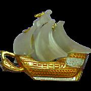 SALE PENDING Spanish Galleon Damascene Ship Spain Pin Brooch
