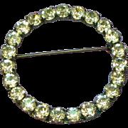 Rhinestones Classic Large Circle Pin Brooch